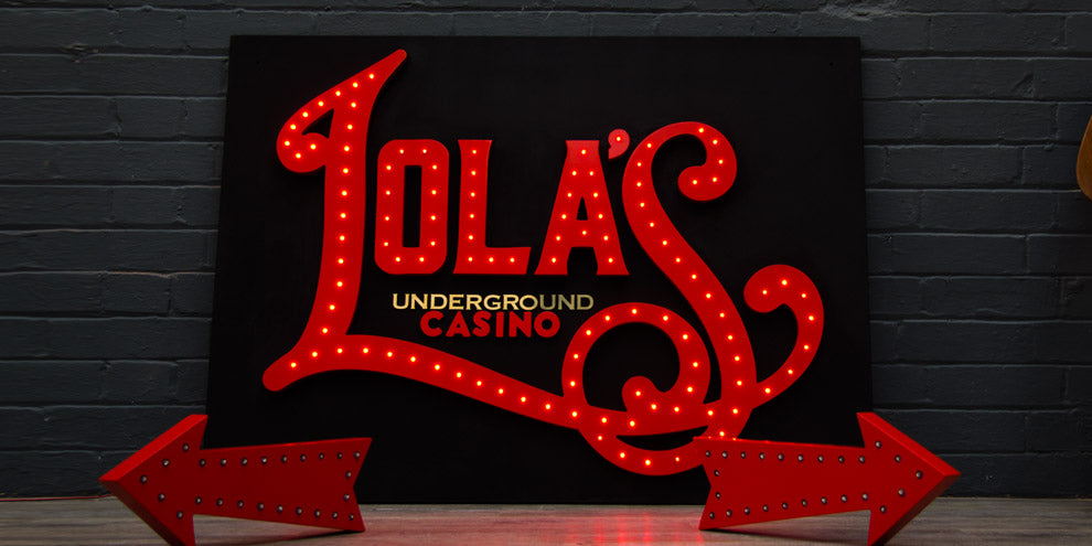 Lola's Underground Casino Sign