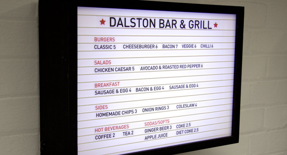 Menu Light Box