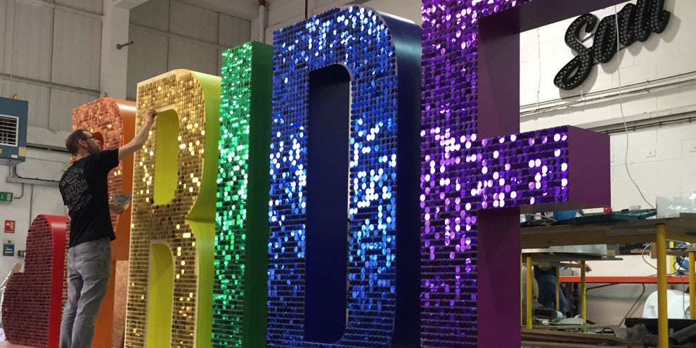 Giant Pride letters with sequins