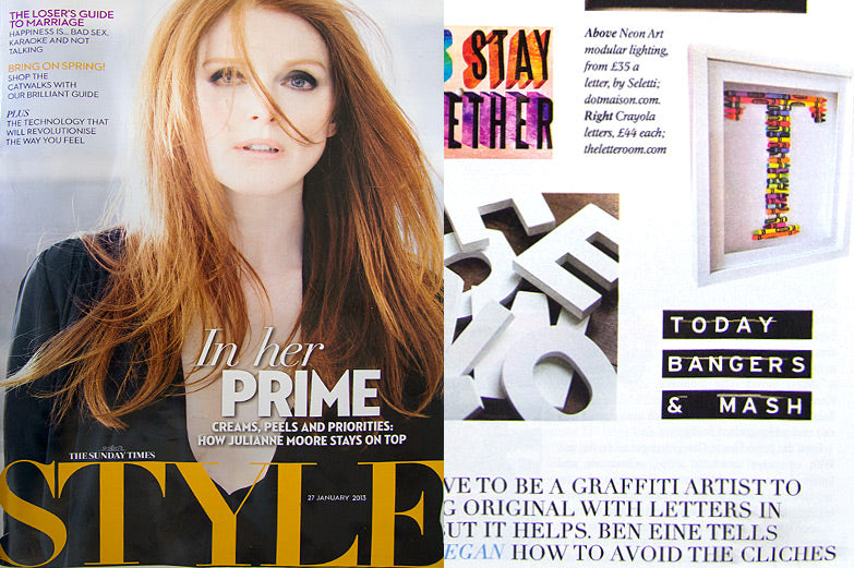 Sunday Times Style Magazine Jan 2013 Cinema Typographic Board