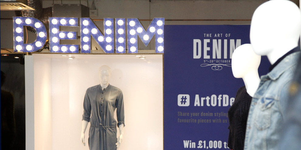 Denim bulb shop sign