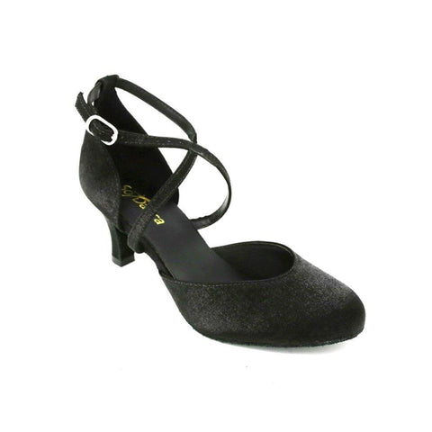 SoDanca Cross Strap Velvet Effect Closed Toe Ballroom Shoe BL-126