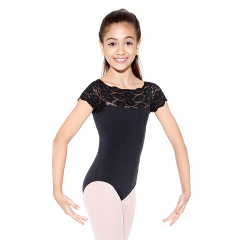 So Danca Children's Cap Sleeve Light Lace Black Leotard E11134