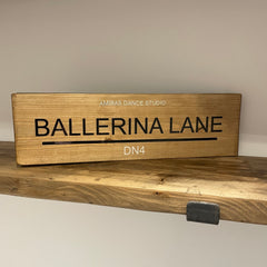 Ballerina Lane Natural Wood Personalised Sign