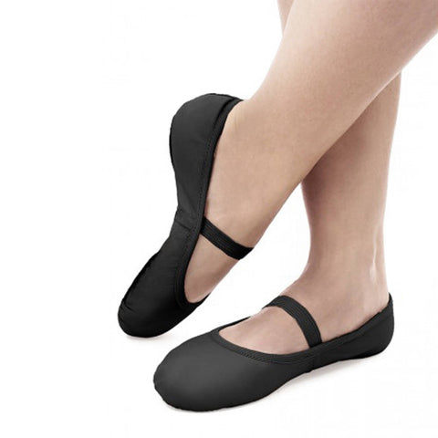 Stretch Leather Full Sole Black Ballet Shoe SD70
