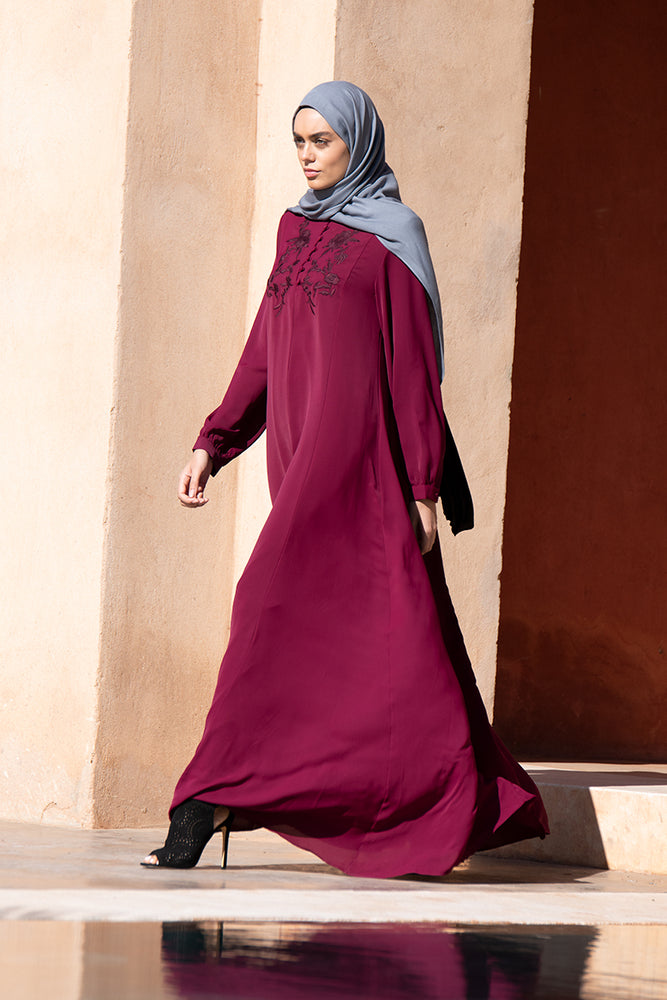 Floral Burgundy Embroidered Abaya