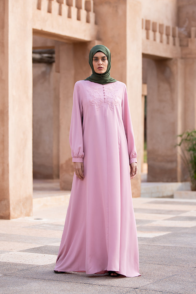 Floral Pink Embroidered Abaya