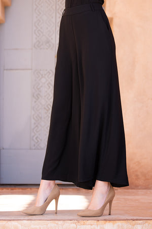Black Palazzo Belted Trousers
