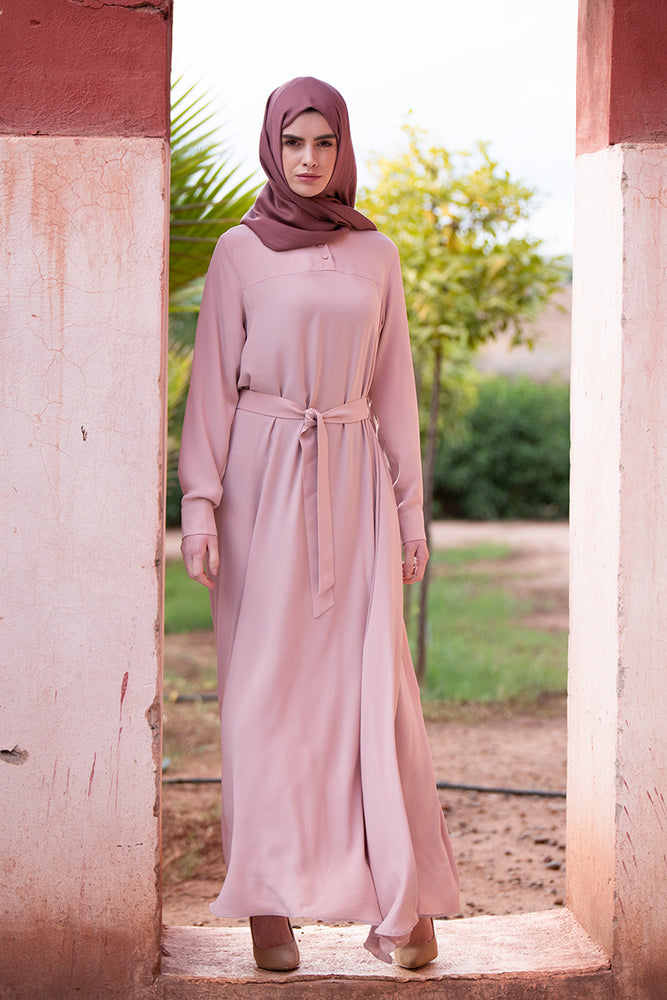 Soft Pink Button Neck Abaya