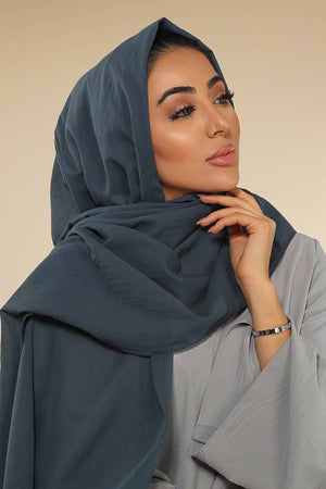 Navy Blue Luxury Cotton Twill Hijab