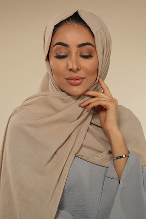 Stone Grey Luxury Cotton Twill Hijab