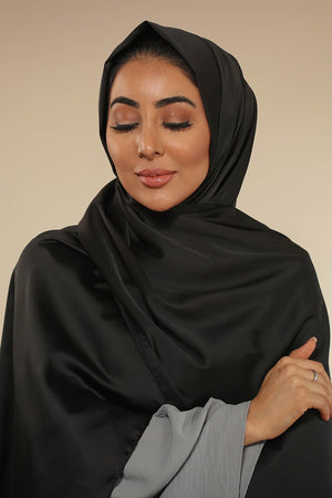 Black Silk Satin Luxury Hijab