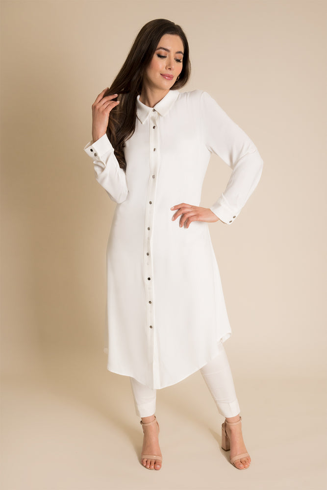 White Collared Shirt Dress
