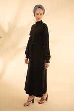 Black Belted Maxi Jumper Dress