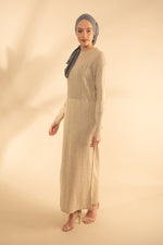 Beige Panelled Knit Jumper Dress