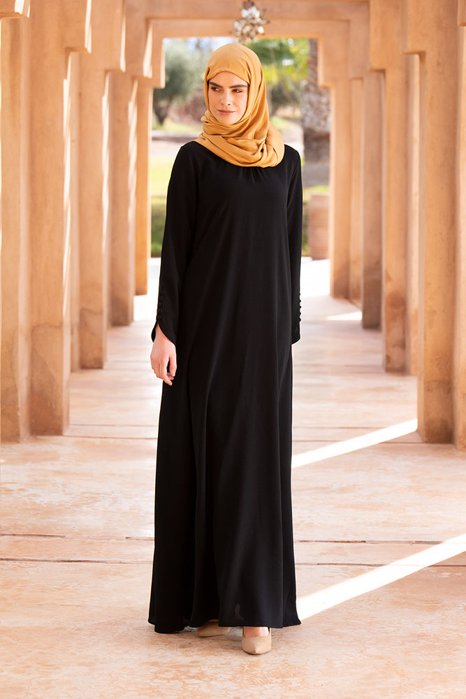 Simple Black Neck Pleat Abaya