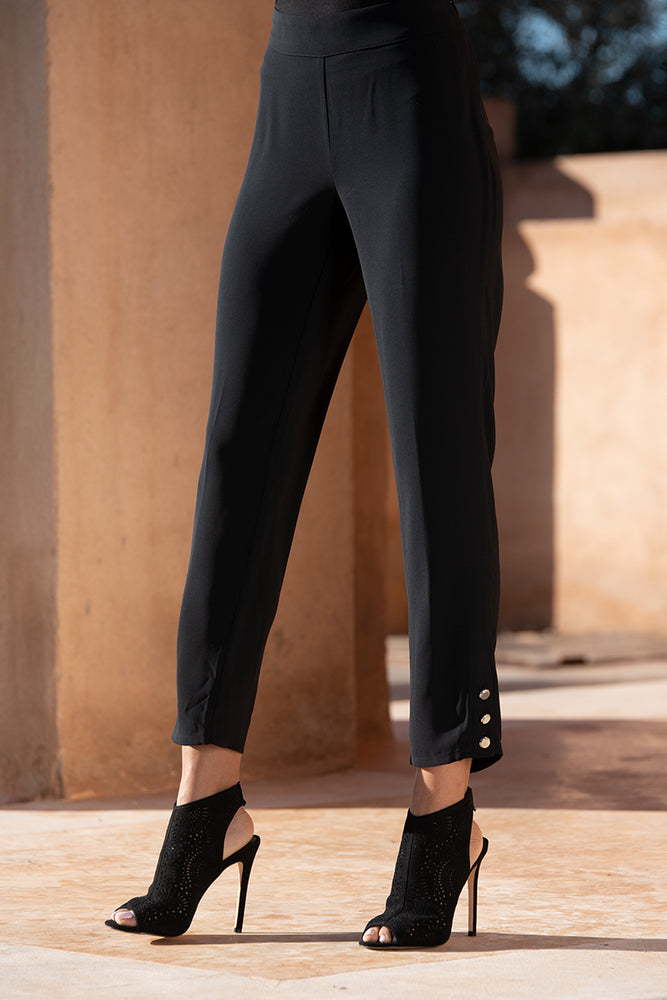 Silver Button Black Trousers
