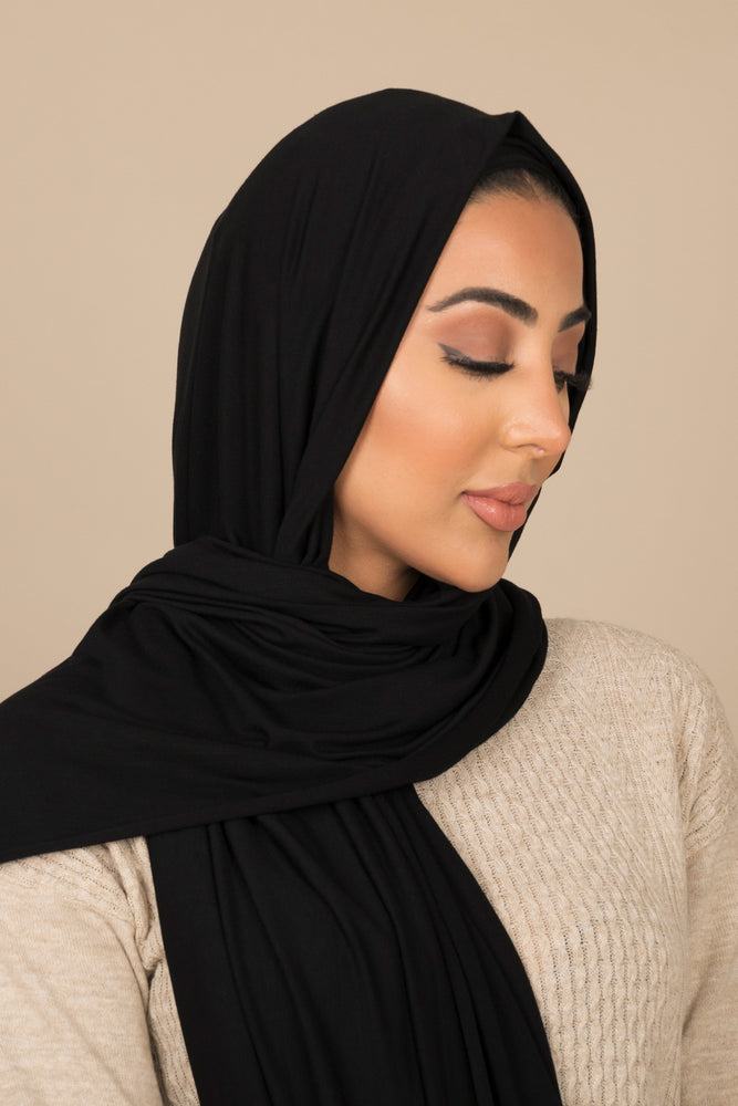 Black Luxe Jersey Hijab