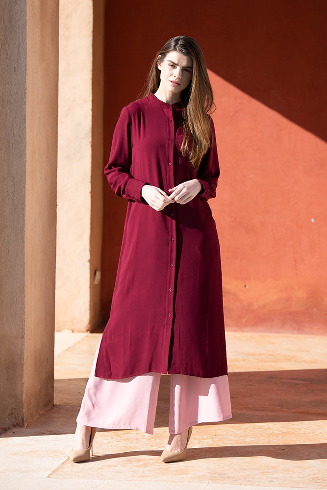 Maroon Midi Shirt Dress