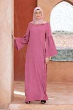 Vintage Pink Flared Sleeve Maxi Dress