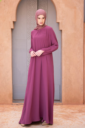 Simple Dusty Rose Neck Pleat Abaya