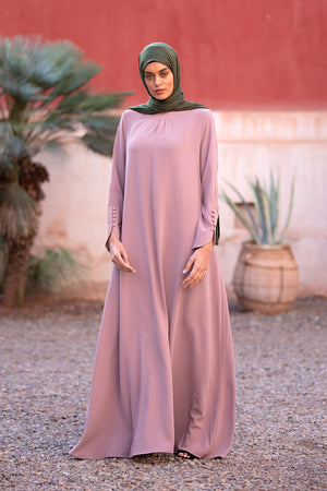 Simple Pink Neck Pleat Abaya