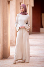Beige Flared Sleeve Maxi Dress
