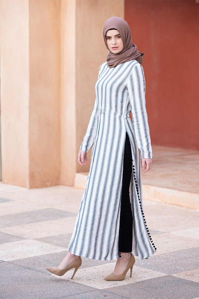 Striped Grey High Slit Maxi