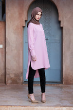 Pink Shirt Collar Midi Dress