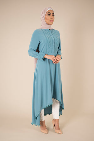 Detailed Edge Mint Midi