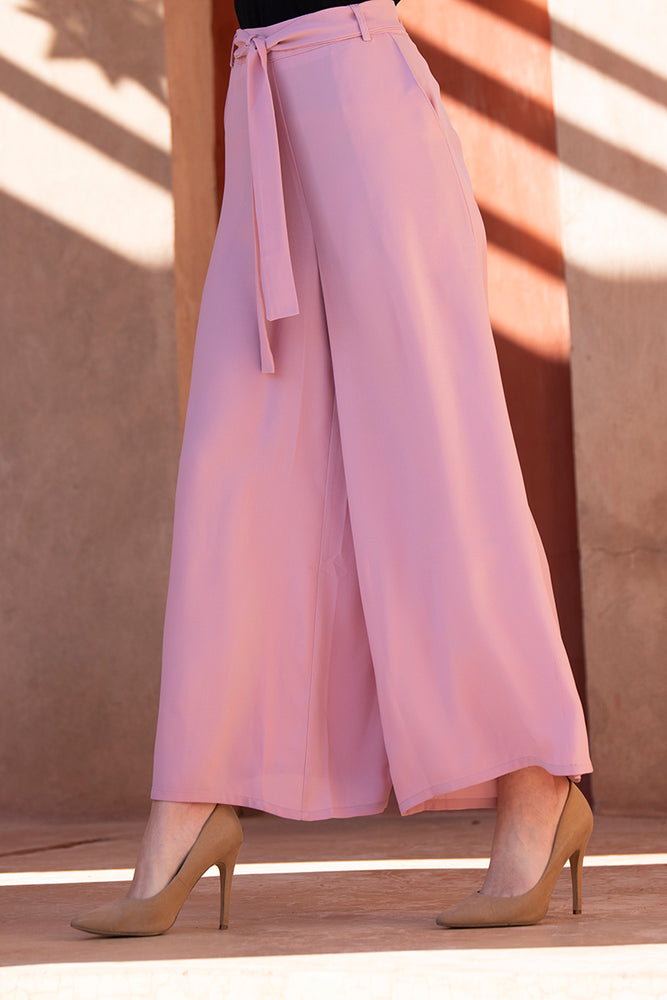 Pink Palazzo Belted Trousers