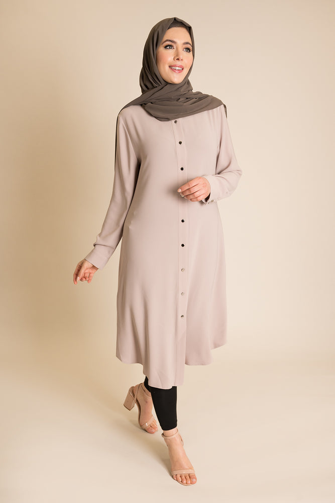 Taupe Collared Shirt Dress