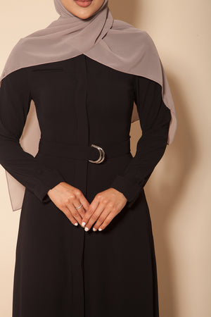 Button Down Abaya Black