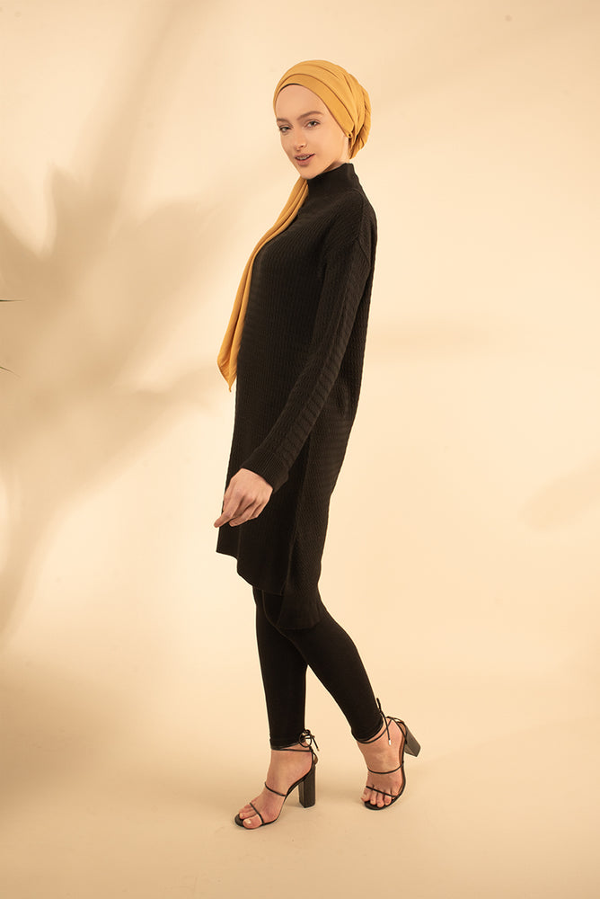 Black High Neck Knit Jumper Dress
