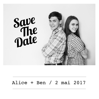 Save the date mariage Alice+Ben