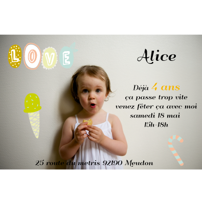 invitation anniversaire alice 4 ans faire part magnet. Black Bedroom Furniture Sets. Home Design Ideas
