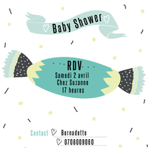 Baby shower invitation bonbon