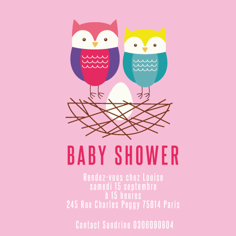 Baby shower invitation Hiboux