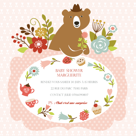 Baby shower invitation Marguerite - Faire Part Magnet