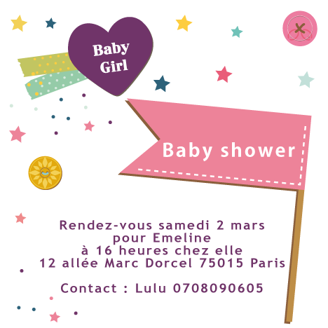 Baby shower invitation Etoiles - Faire Part Magnet