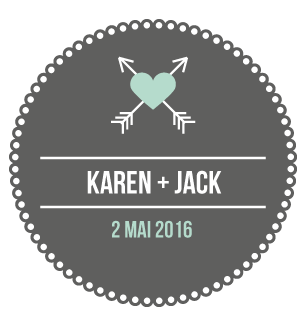 Badge Karen + Jack - Faire Part Magnet