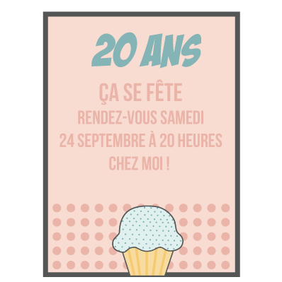 carte anniversaire invitation 20 ans faire part magnet. Black Bedroom Furniture Sets. Home Design Ideas