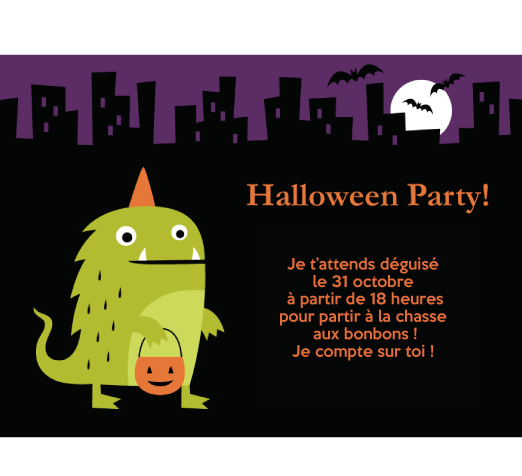 Carte halloween monstres