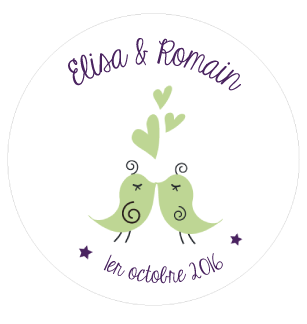 Badge Elisa+Romain - Faire Part Magnet