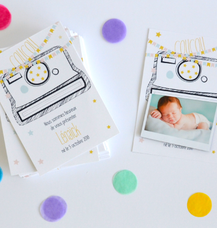 Faire-part polaroid et magnet guirlande de fanion