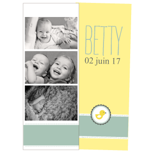 Faire-part naissance photomaton Betty