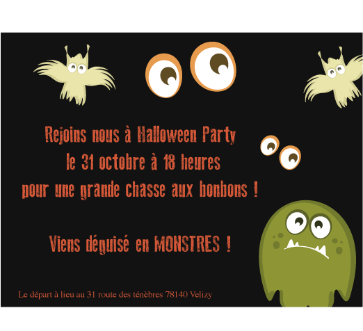 Carte halloween party monster