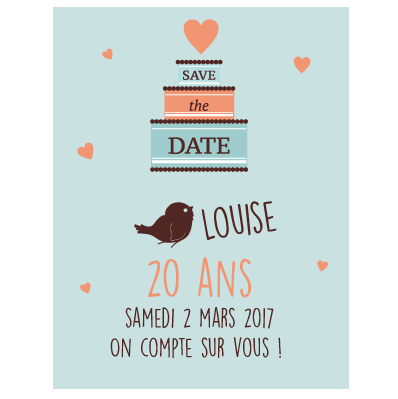 invitation 20 ans fille faire part magnet. Black Bedroom Furniture Sets. Home Design Ideas