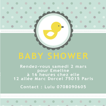 Baby shower invitation canard jaune