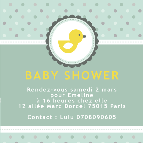Baby shower invitation canard jaune - Faire Part Magnet